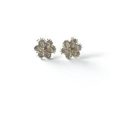 Sterling silver flower stud earrings made from molded lace.