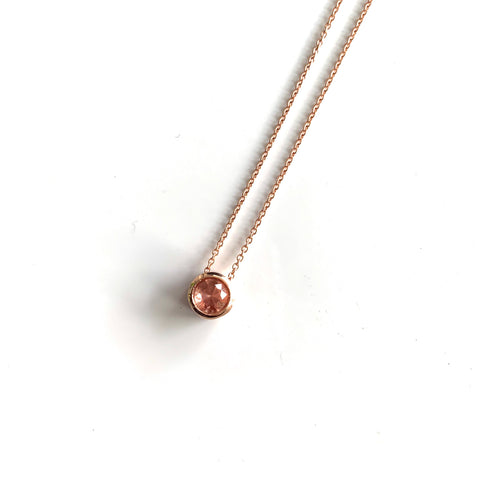 Sunstone slider pendant in 14k rose gold