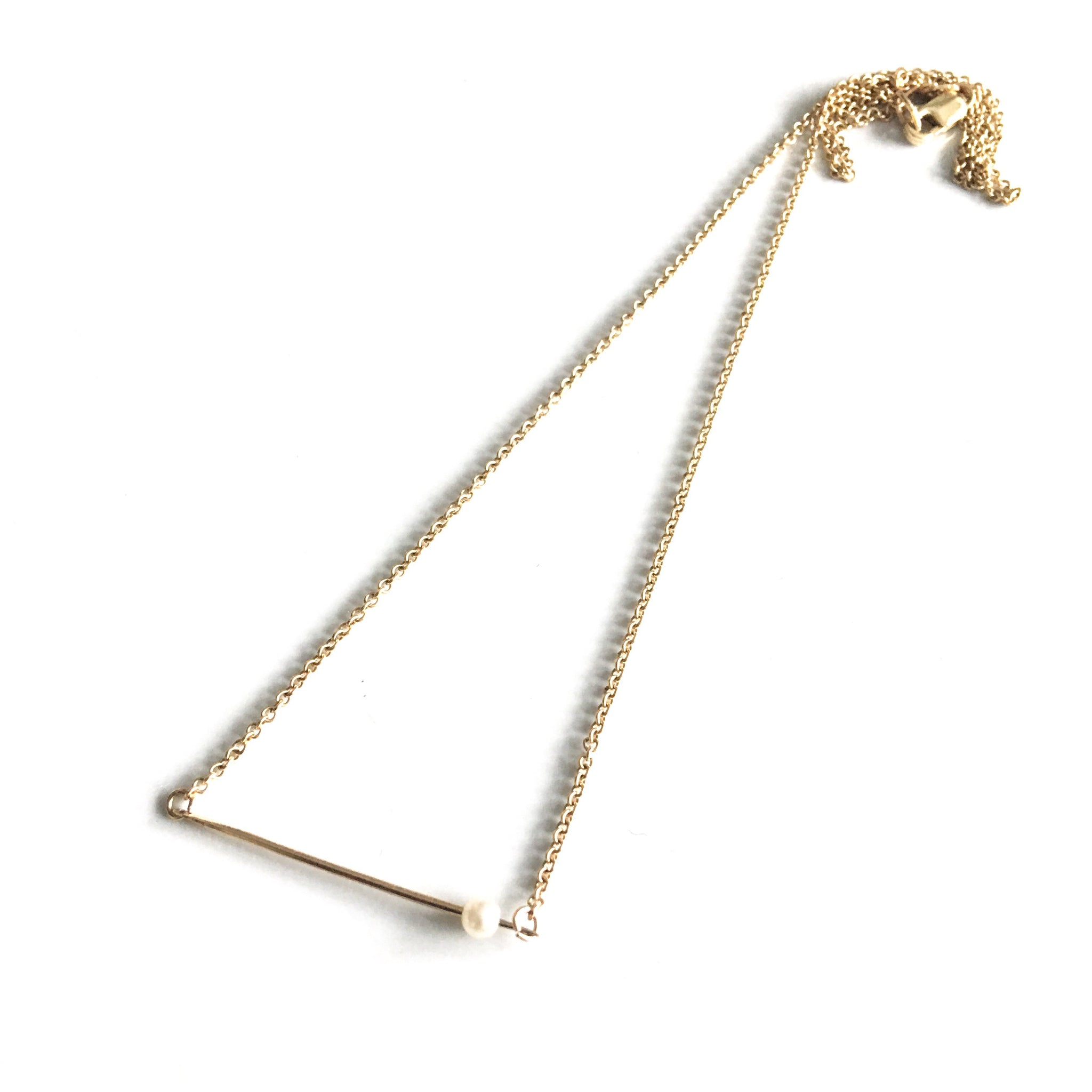 14k Gold Bar Pendant with Freshwater Pearl.