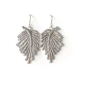 Fern - large lace leaf earrings