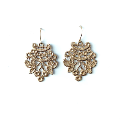 14k yellow gold Chantilly lace earrings
