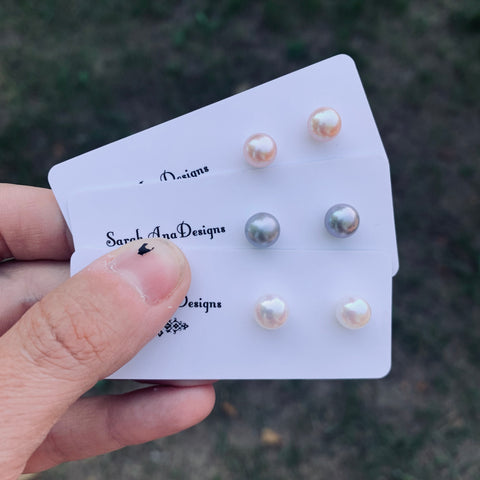 Freshwater Pearl Studs with Sterling Silver