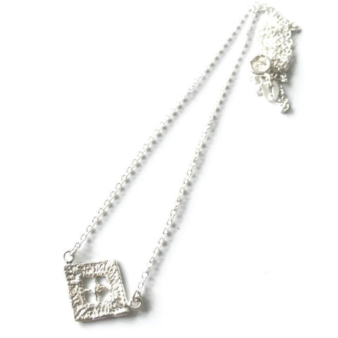 sterling silver cast lace diamond pendant