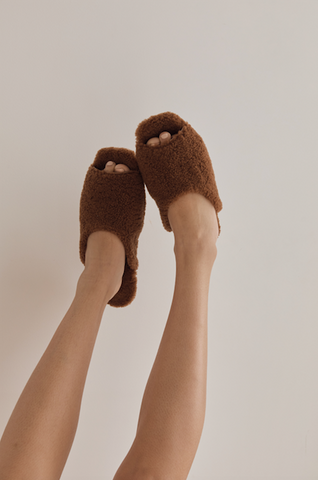 Shearling Slide, Chestnut
