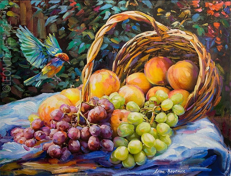 Peach and Grapes — Oil painting on canvas by Leon Devenice
