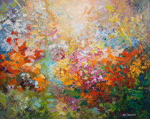 BLISS OF SPRING — Palette Knife Floral Abstract Art by Leon Devenice