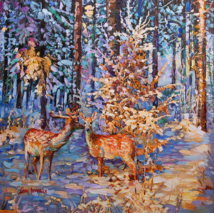 Painting of deer in winter