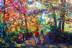 romantic painting of a couple walking in the park