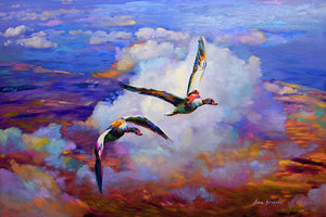 Painting of mallard ducks flying above clouds