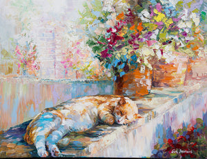 Cat — Palette Knife Modern Oil Painting on Canvas by Leon Devenice