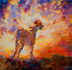 Cheetah's Valley Oil painting on canvas by Leon Devenice