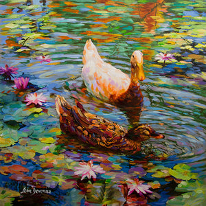 Painting of ducks swimming on lily pond lake