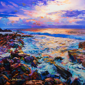 Ocean painting of waves crashing on a rocky coastline