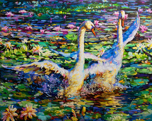 Oil painting of swans swimming on lily pond