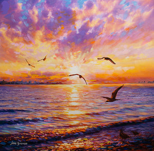 sunset painting , seascape painting