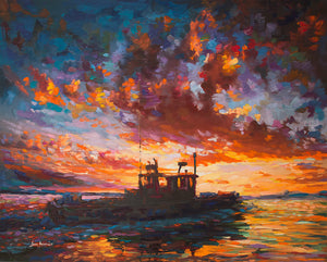 "The Fishing Boat at Sunset - Hand made oil on canvas (re-creation) 30"" x 24"" (76.2 x 60.96 cm)"
