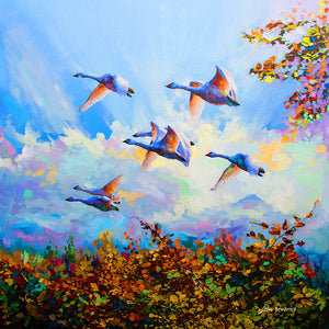 swans flying , oil painting
