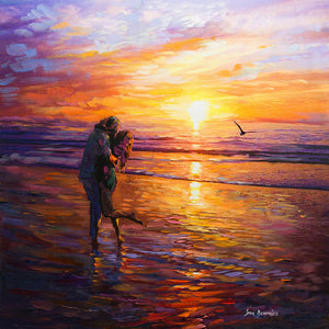 sunset painting of couple kissing on the beach