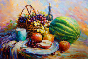 Still life painting with fruits and wine