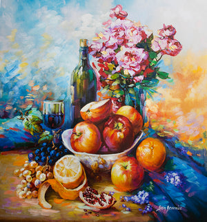 Fruits and wine — Still life acrylic painting on canvas