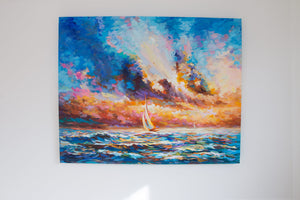 A Voyage of Hope painting on canvas by Leon Devenice
