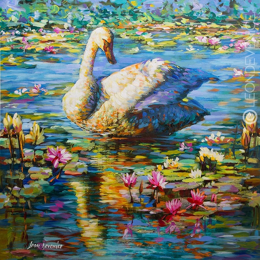 Leon Devenice, Swan painting, Swan art