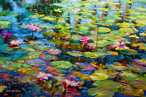 Lily pond painting , impressionism