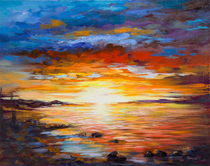 Sunset in Hydra — Seascape Oil Painting by Leon Devenice
