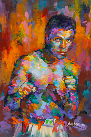 Muhammad Ali painting on canvas by Leon Devenice