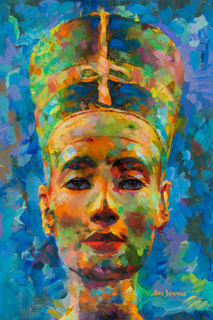 Nefertiti painting, egyptian art