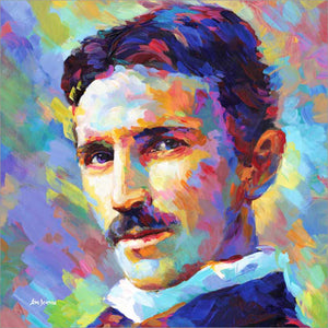 Nikola Tesla painting by Leon Devenice