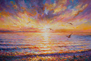 sunset over ocean painting