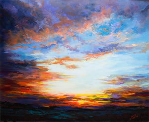 Sunset on the Desert Landscape Oil Painting on Canvas by Leon Devenice