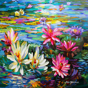 lotus painting , pond painting