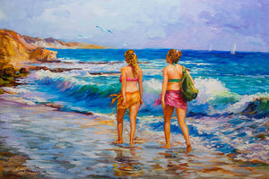 Two Girls Walking on Venice Beach (SOLD)