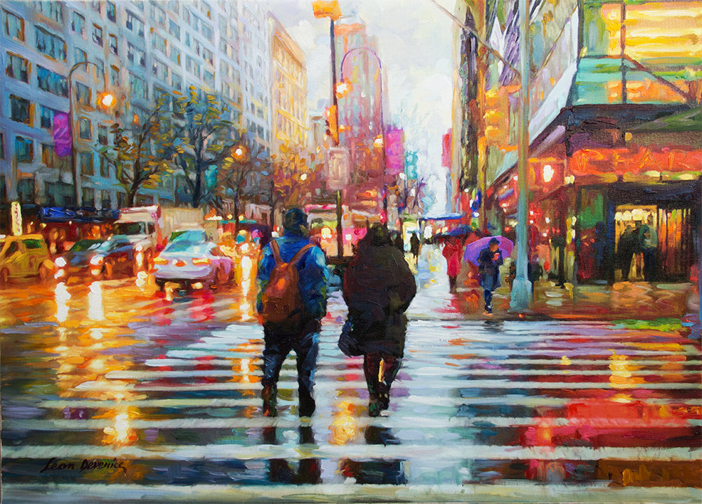 Friday Afternoon in Manhattan — Landscape Oil Painting on Canvas by Leon Devenice