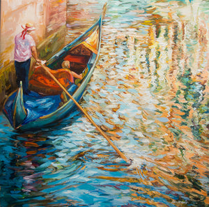 Venice Canal — Landscape Oil Painting on Canvas by Leon Devenice
