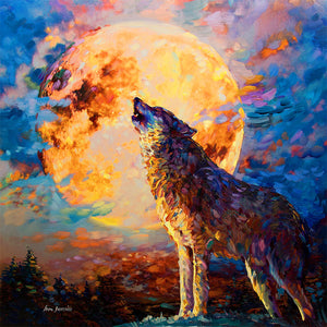 Painting of wolf howling against moon at night