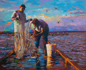 fishing painting on canvas