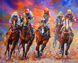 Horse racers — oil painting on canvas by leon devenice