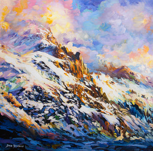 Canvas painting of snow covered mountain