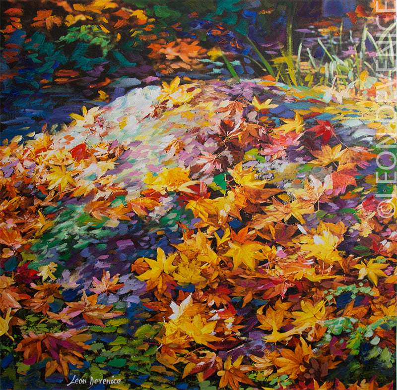 The Autumn leaves of red and gold — Oil painting on canvas by Leon Devenice