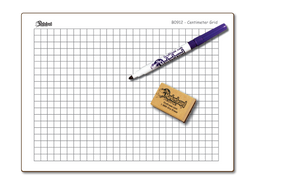 "CENTIMETER GRAPH GRID DOUBLE SIDED DRY ERASE,  9"" x 12"" Student Whiteboards - BC0912-2x"