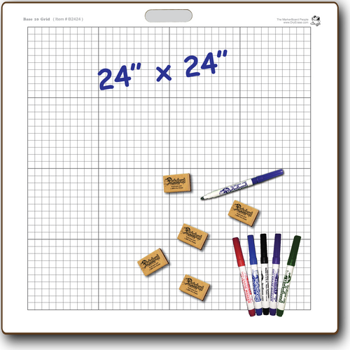 BASE TEN GRID GRAPH DOUBLE SIDED DRY ERASE,  24
