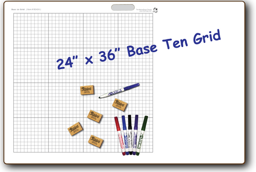 BASE 10 GRID DOUBLE SIDED DRY ERASE,  24