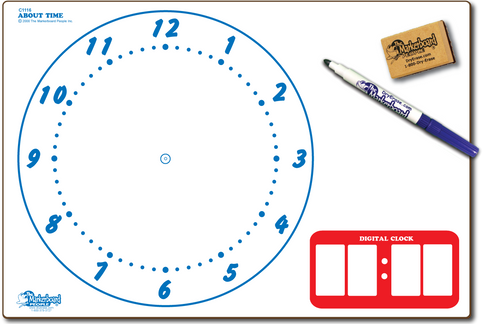 CLOCK ABOUT TIME DOUBLE SIDED DRY ERASE,  11