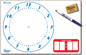 "CLOCK ABOUT TIME DOUBLE SIDED DRY ERASE,  11"" x 16"" Student Response Boards - CC1116-2x"