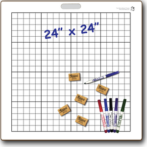 "GRAPHBOARD DOUBLE SIDED DRY ERASE,  24"" x 24"" Student Whiteboards - G2424-2x-H - $24.75 each"