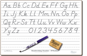 "D'NEALIAN HANDWRITING PRACTICE DOUBLE SIDED DRY ERASE,  11"" x 16"" Student Response Boards - HPC1116-D'NEALIAN-2x"