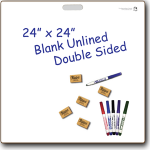 "BLANK UNLINED DOUBLE SIDED DRY ERASE,  24"" x 24"" Student Whiteboards - M2424-2x-H"